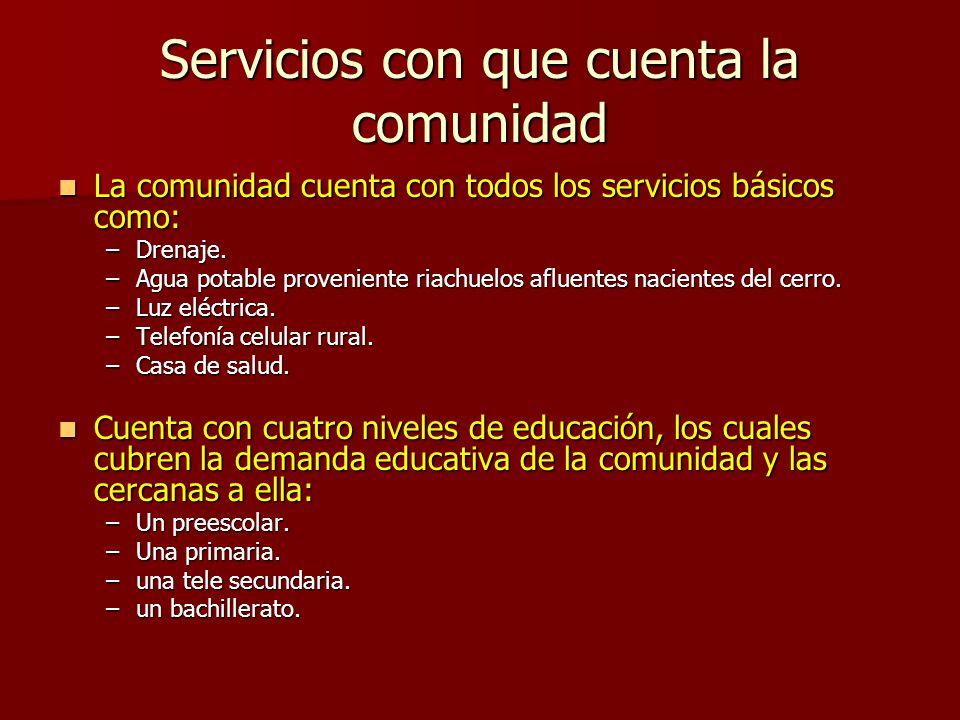 Servicios con que cuenta la comunidad