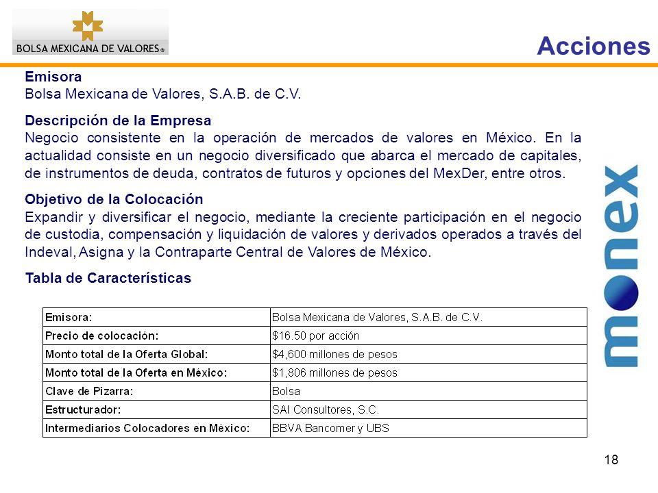 Acciones Emisora Bolsa Mexicana de Valores, S.A.B. de C.V.