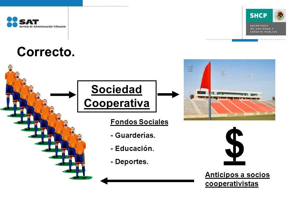 $ Correcto. Sociedad Cooperativa Fondos Sociales - Guarderías.