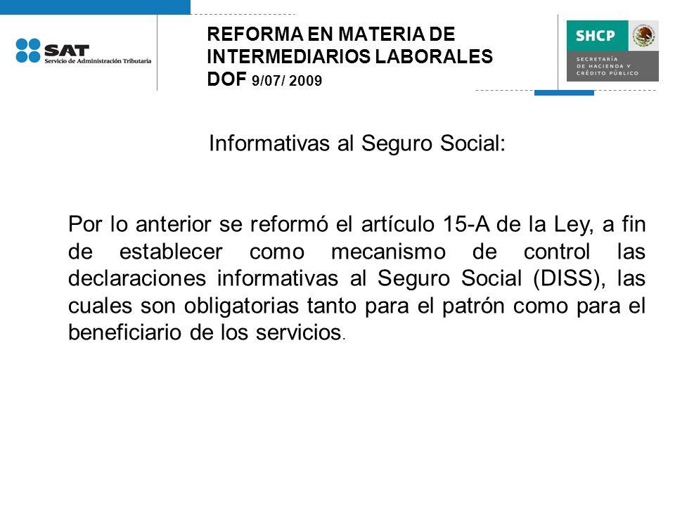 REFORMA EN MATERIA DE INTERMEDIARIOS LABORALES DOF 9/07/ 2009