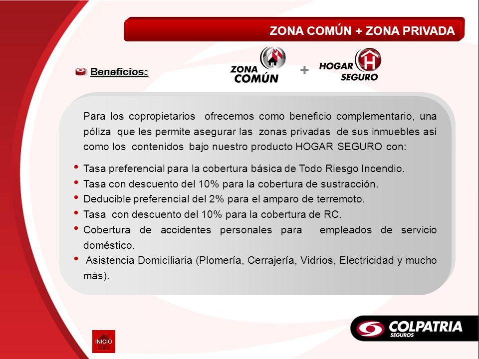 + ZONA COMÚN + ZONA PRIVADA VIDA A MI MEDIDA Beneficios: