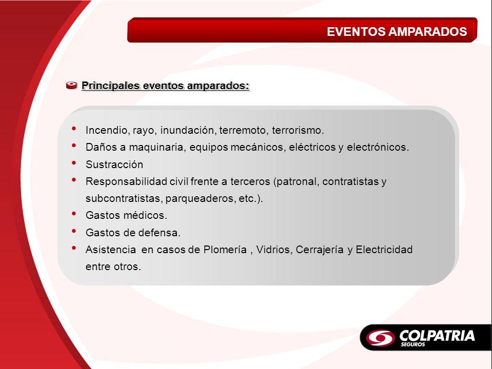 EVENTOS AMPARADOS VIDA A MI MEDIDA Principales eventos amparados: