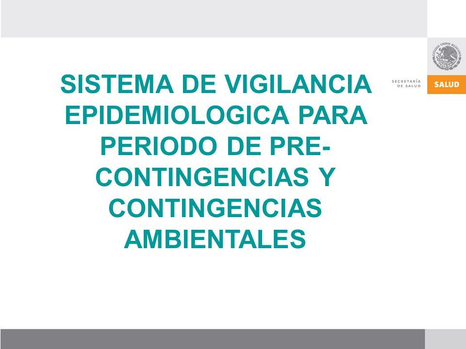SISTEMA DE VIGILANCIA EPIDEMIOLOGICA PARA PERIODO DE PRE-CONTINGENCIAS Y CONTINGENCIAS AMBIENTALES