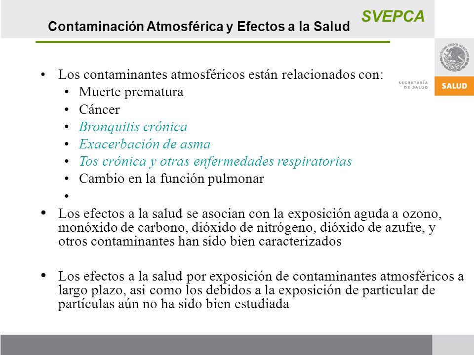 SVEPCA Los contaminantes atmosféricos están relacionados con: