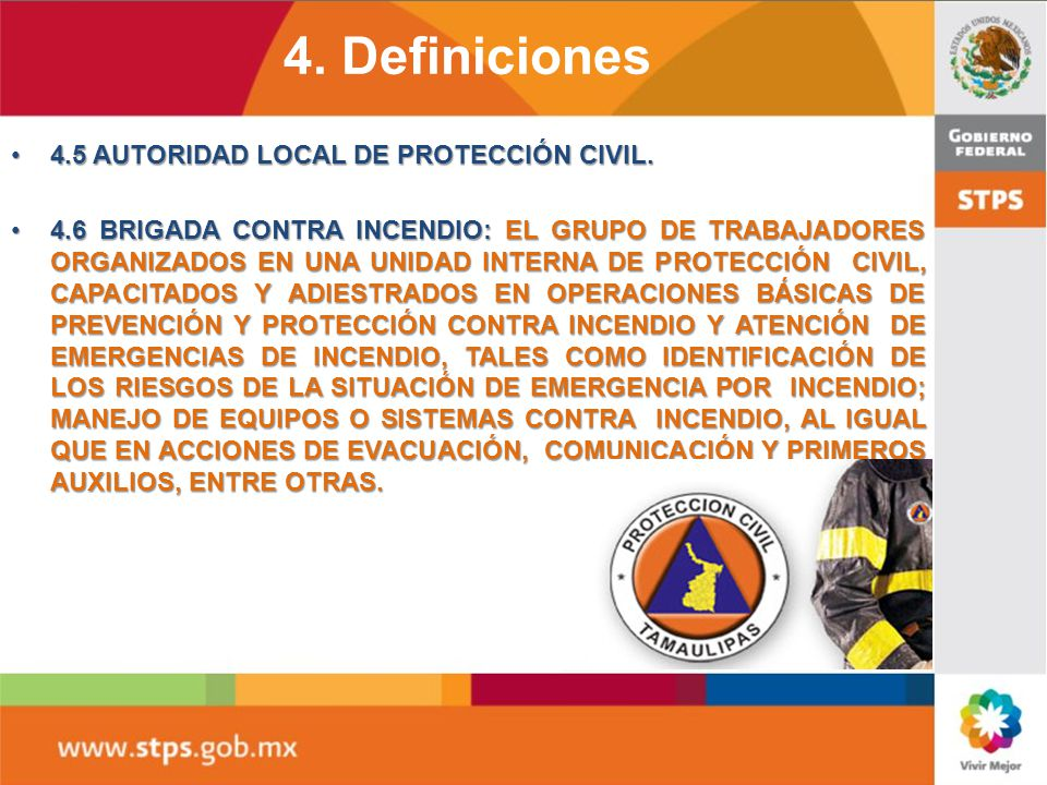 4. Definiciones 4.5 AUTORIDAD LOCAL DE PROTECCIÓN CIVIL.