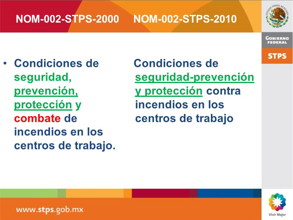 NOM-002-STPS-2000 NOM-002-STPS-2010. Condiciones de seguridad, prevención, protección y combate de incendios en los centros de trabajo.