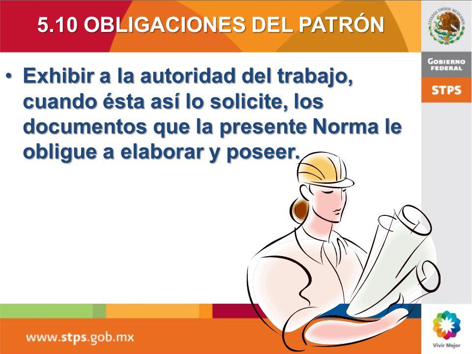 5.10 OBLIGACIONES DEL PATRÓN
