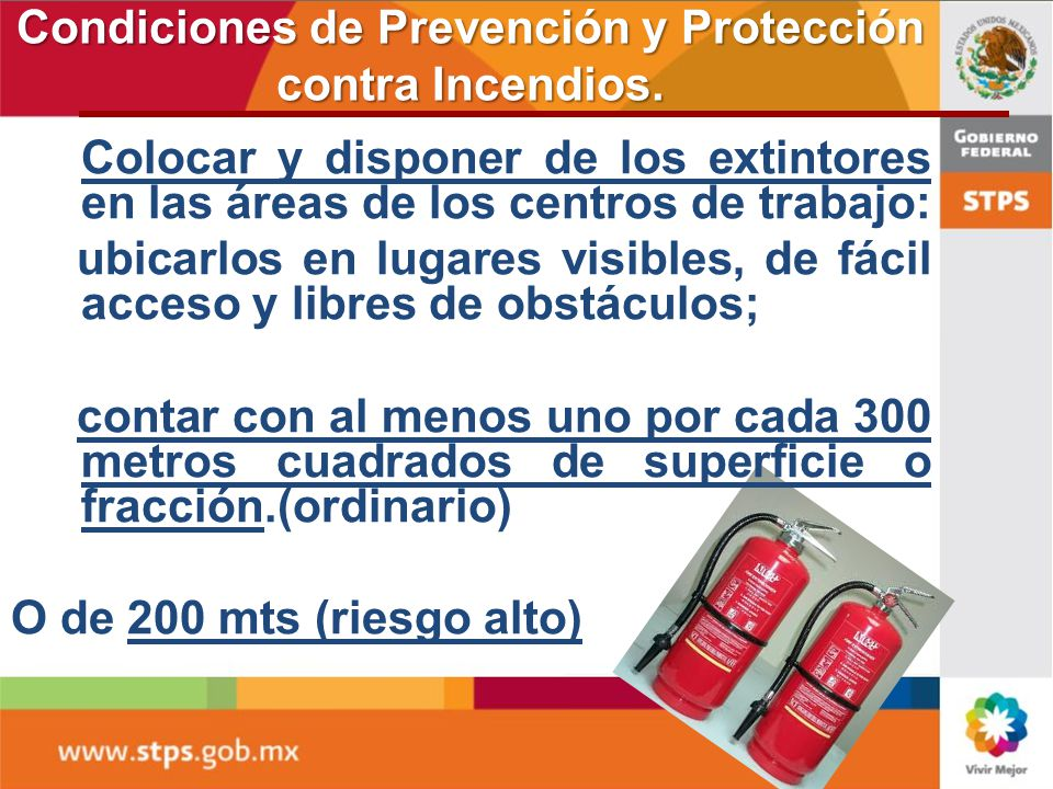 Condiciones de Prevención y Protección contra Incendios.