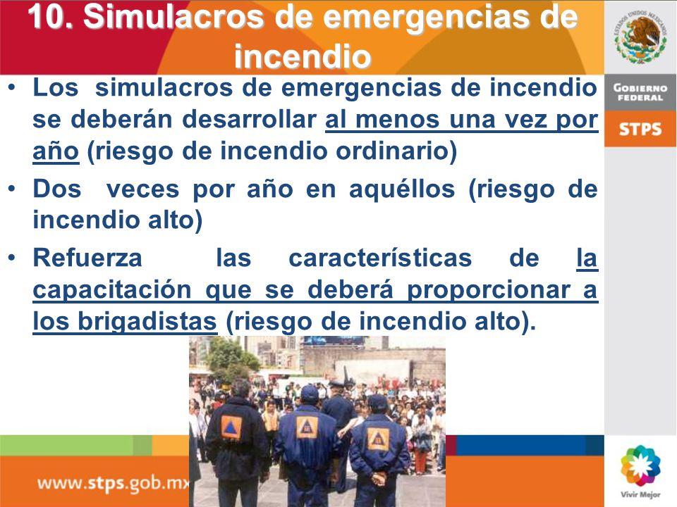 10. Simulacros de emergencias de incendio