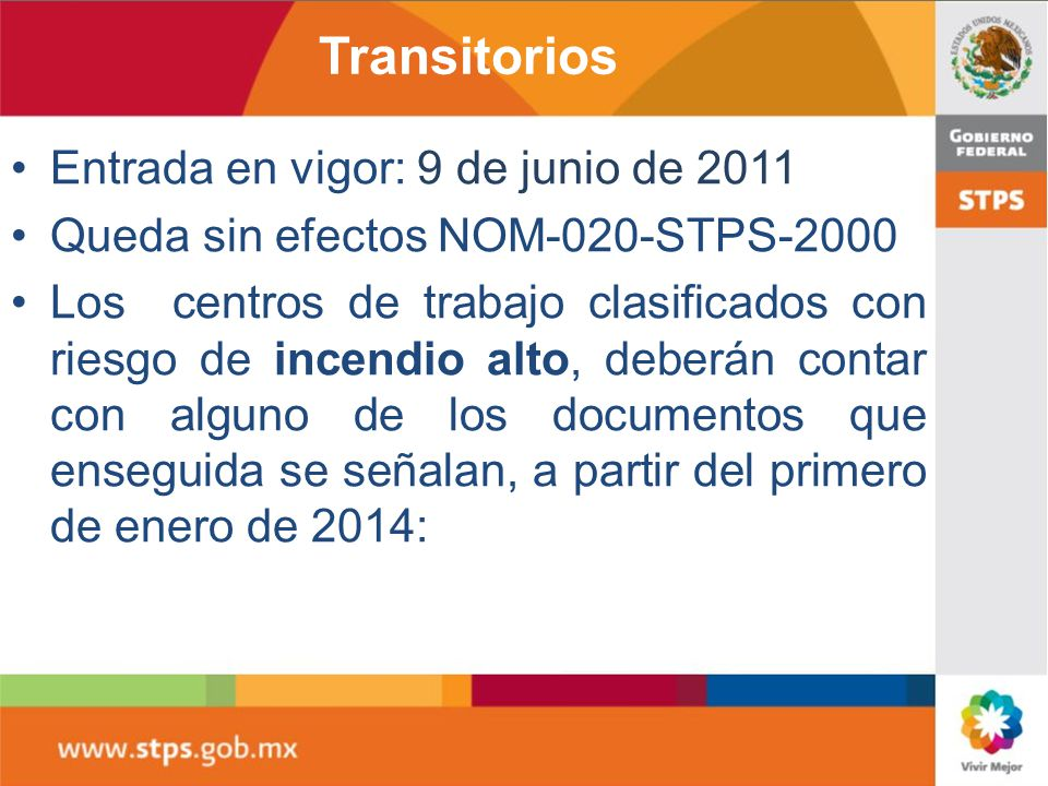 Transitorios Entrada en vigor: 9 de junio de 2011