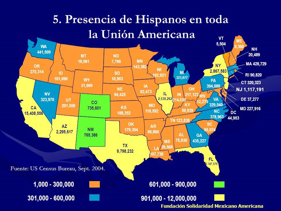 5. Presencia de Hispanos en toda