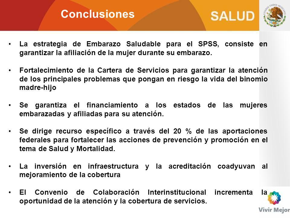 Conclusiones La estrategia de Embarazo Saludable para el SPSS, consiste en garantizar la afiliación de la mujer durante su embarazo.