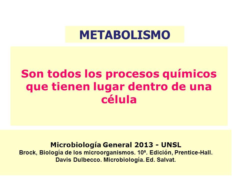METABOLISMOSon todos los procesos químicos que tienen lugar dentro de una célula. Microbiología General 2013 - UNSL.