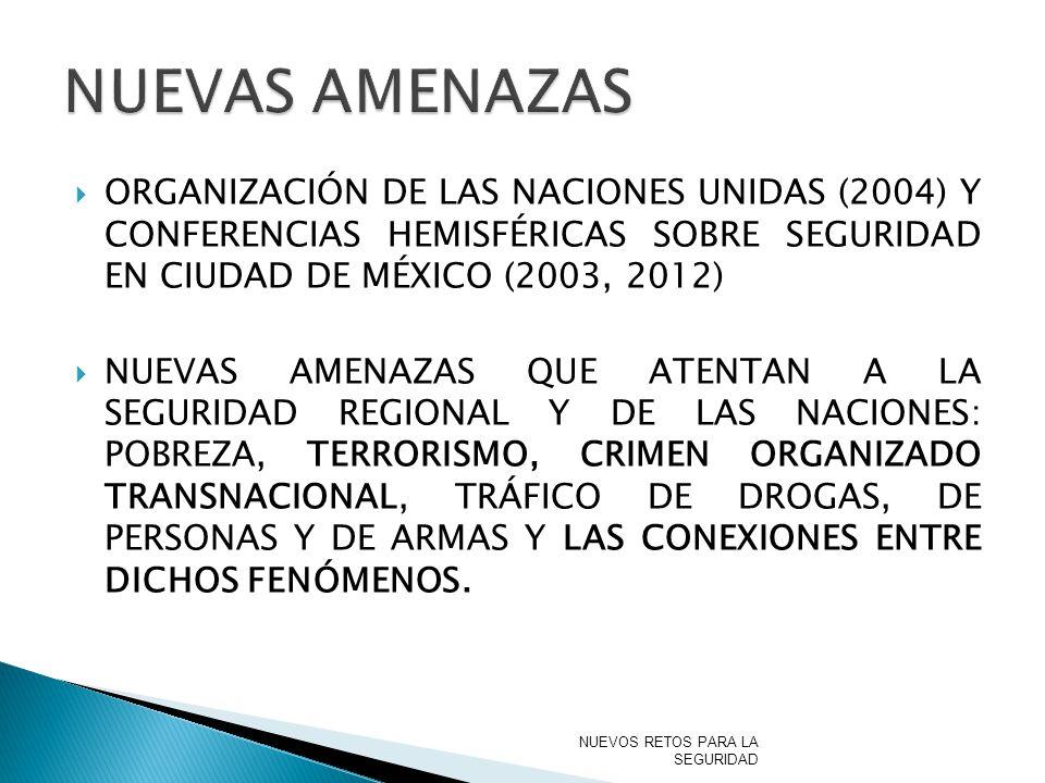 NUEVAS AMENAZAS ORGANIZACIÓN DE LAS NACIONES UNIDAS (2004) Y CONFERENCIAS HEMISFÉRICAS SOBRE SEGURIDAD EN CIUDAD DE MÉXICO (2003, 2012)