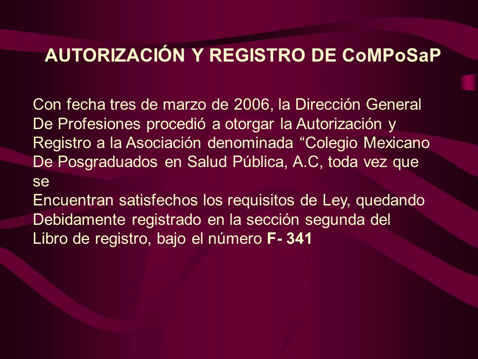 AUTORIZACIÓN Y REGISTRO DE CoMPoSaP