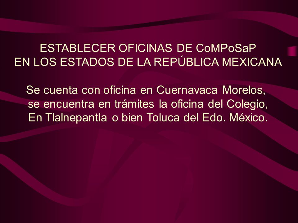 ESTABLECER OFICINAS DE CoMPoSaP