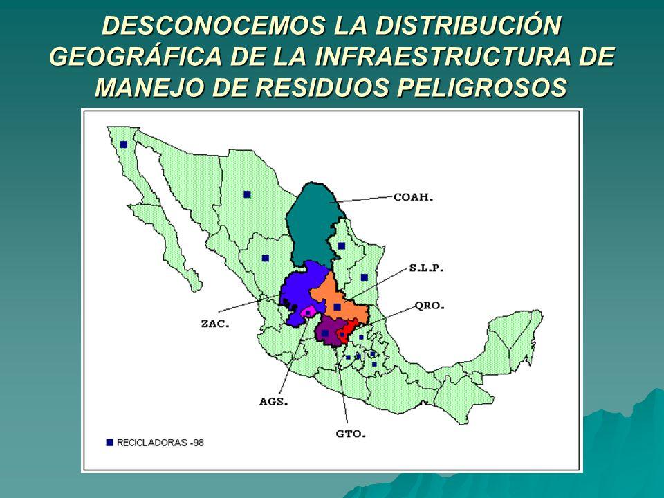 DESCONOCEMOS LA DISTRIBUCIÓN GEOGRÁFICA DE LA INFRAESTRUCTURA DE MANEJO DE RESIDUOS PELIGROSOS
