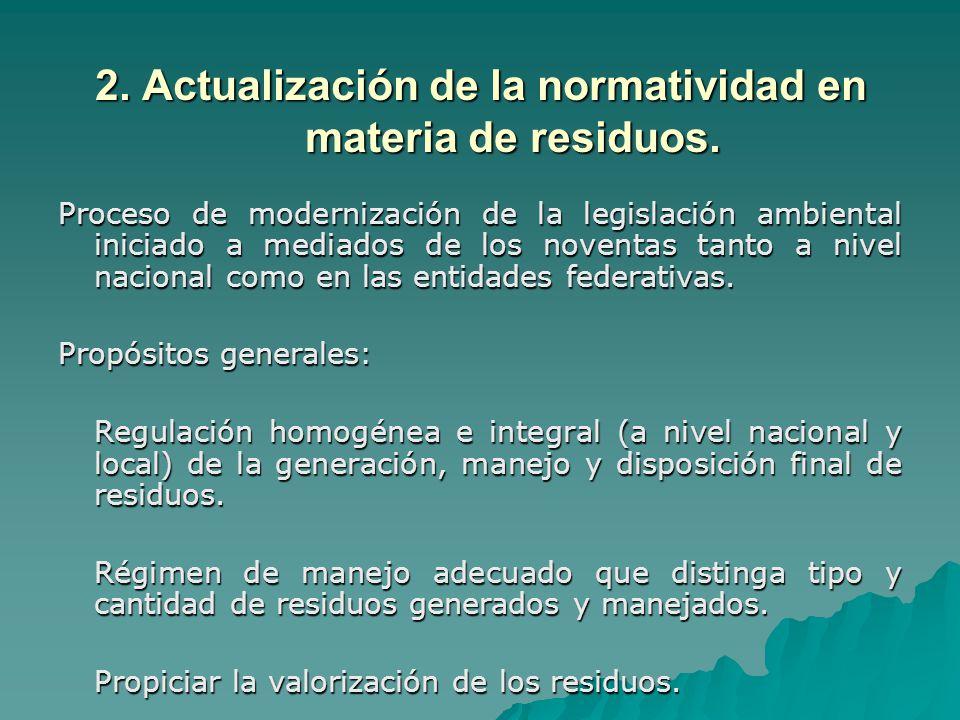 2. Actualización de la normatividad en materia de residuos.