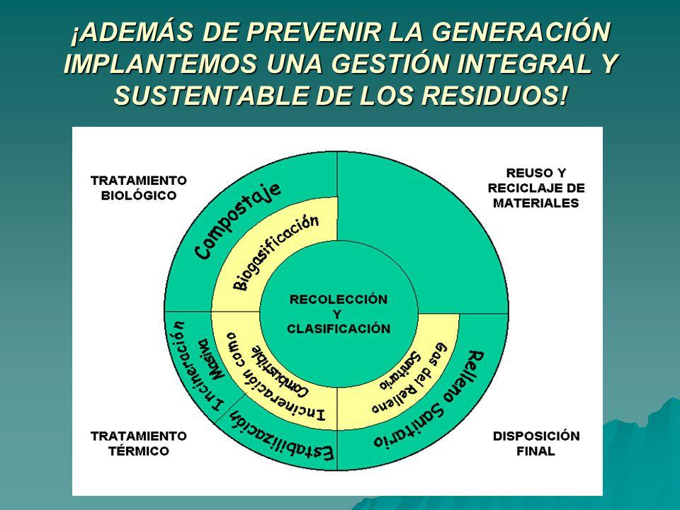 ¡ADEMÁS DE PREVENIR LA GENERACIÓN IMPLANTEMOS UNA GESTIÓN INTEGRAL Y SUSTENTABLE DE LOS RESIDUOS!