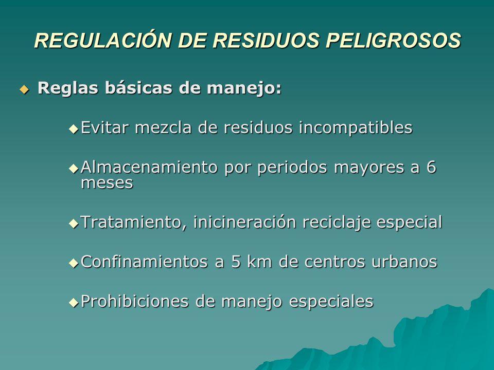 REGULACIÓN DE RESIDUOS PELIGROSOS