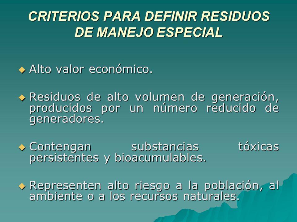 CRITERIOS PARA DEFINIR RESIDUOS DE MANEJO ESPECIAL