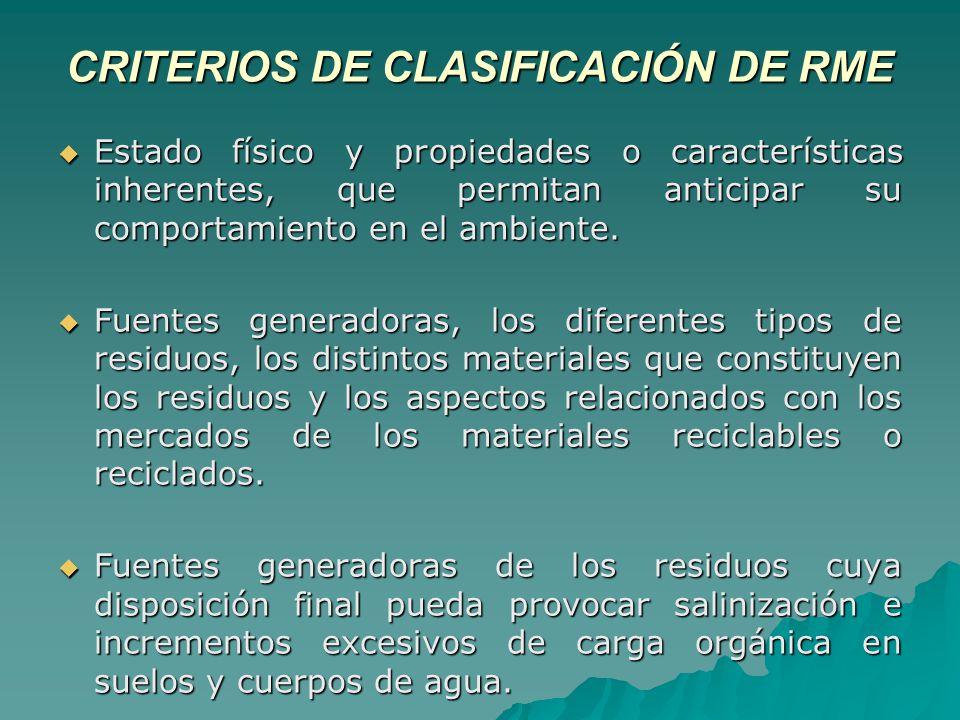 CRITERIOS DE CLASIFICACIÓN DE RME