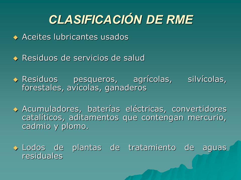 CLASIFICACIÓN DE RME Aceites lubricantes usados