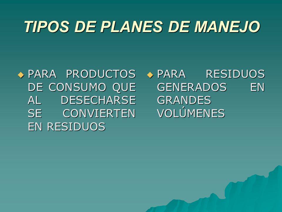 TIPOS DE PLANES DE MANEJO