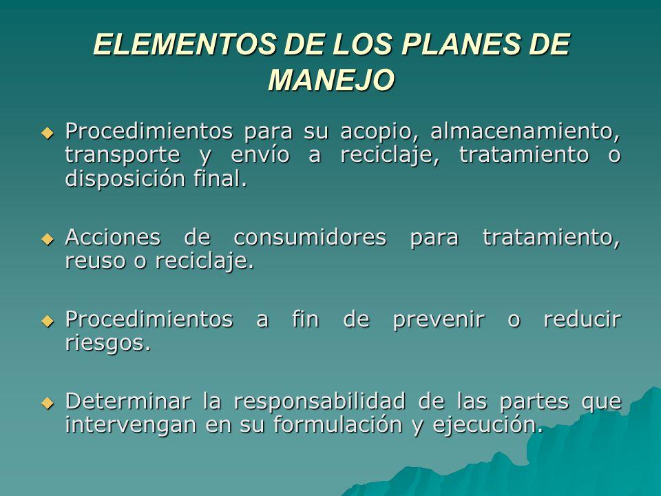 ELEMENTOS DE LOS PLANES DE MANEJO