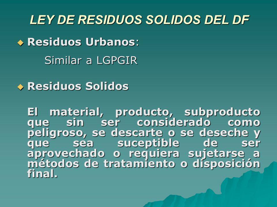 LEY DE RESIDUOS SOLIDOS DEL DF