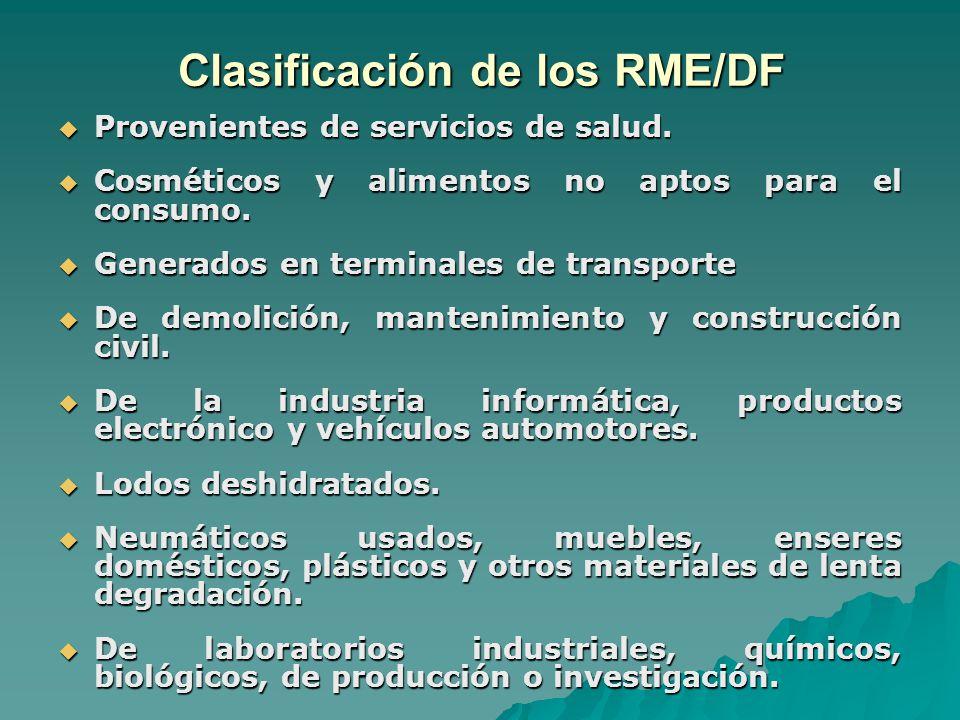 Clasificación de los RME/DF