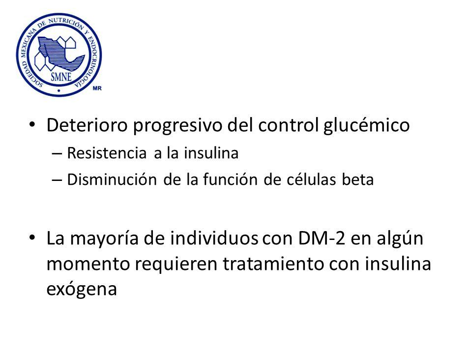 Deterioro progresivo del control glucémico