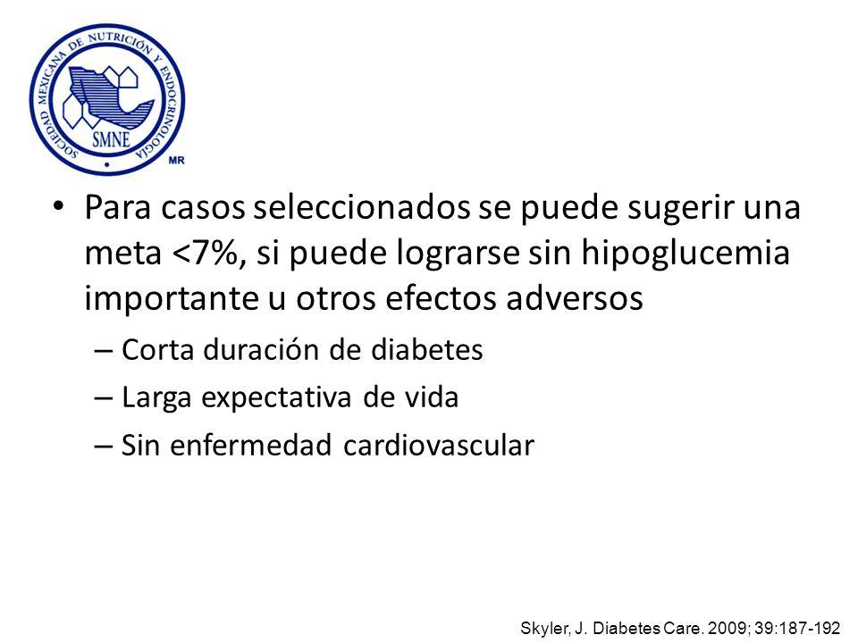 Para casos seleccionados se puede sugerir una meta <7%, si puede lograrse sin hipoglucemia importante u otros efectos adversos