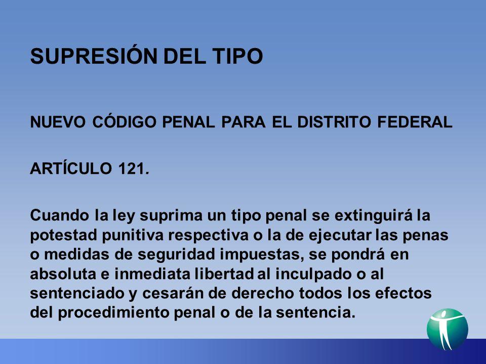 SUPRESIÓN DEL TIPO NUEVO CÓDIGO PENAL PARA EL DISTRITO FEDERAL