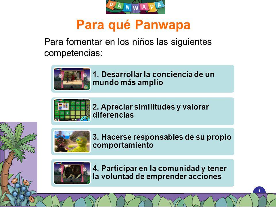 Para qué Panwapa Para fomentar en los niños las siguientes competencias: 1. Desarrollar la conciencia de un mundo más amplio.