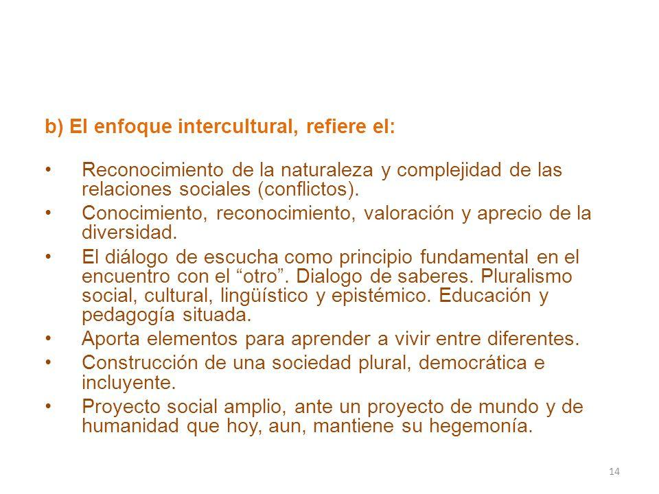 b) El enfoque intercultural, refiere el: