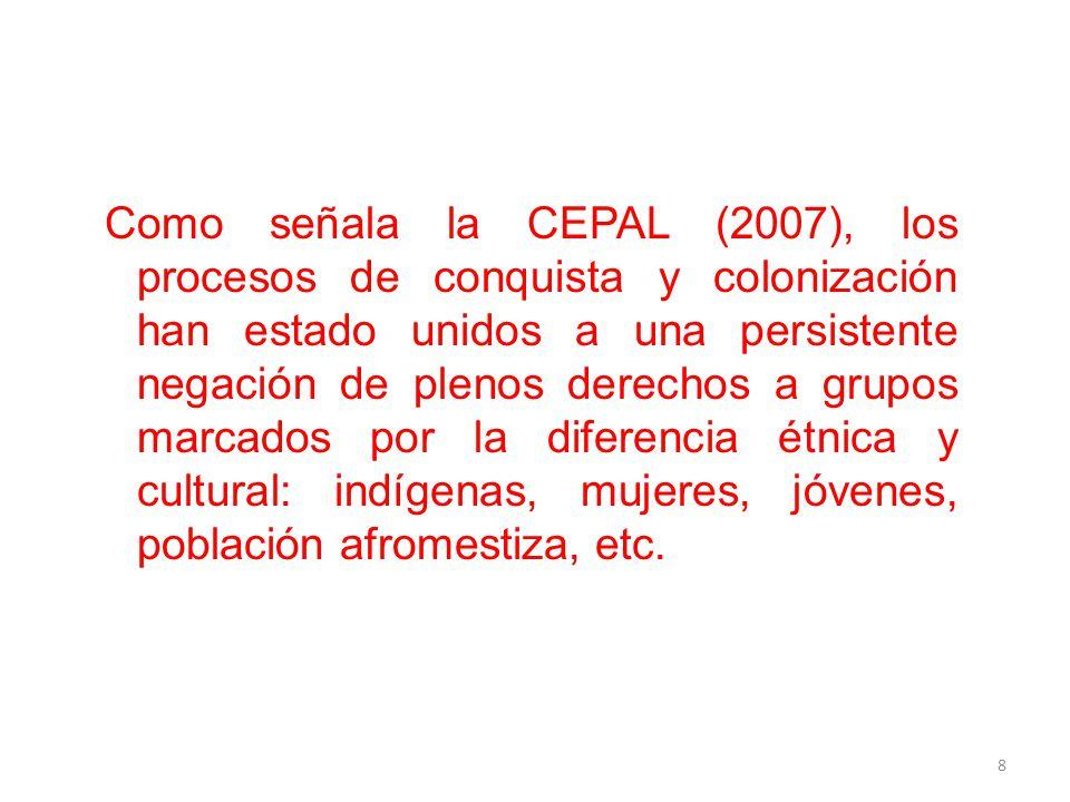 Como señala la CEPAL (2007), los procesos de conquista y colonización han estado unidos a una persistente negación de plenos derechos a grupos marcados por la diferencia étnica y cultural: indígenas, mujeres, jóvenes, población afromestiza, etc.