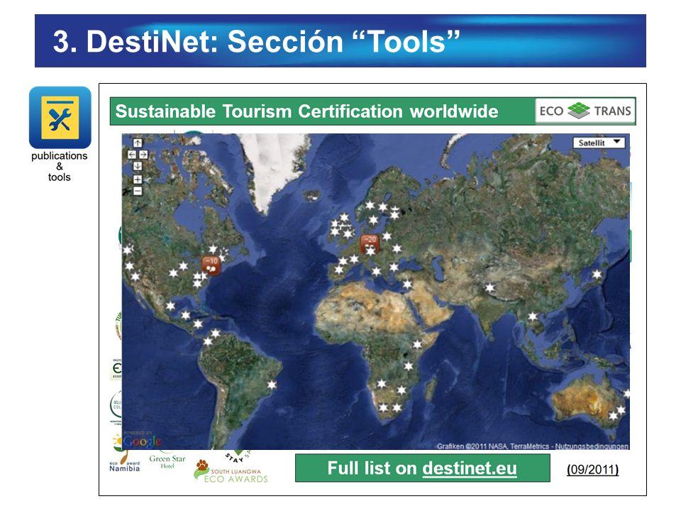 3. DestiNet: Sección Tools
