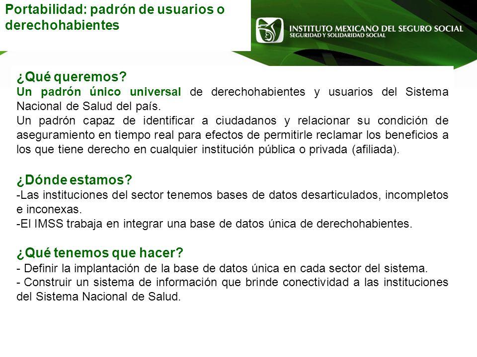 Portabilidad: padrón de usuarios o derechohabientes