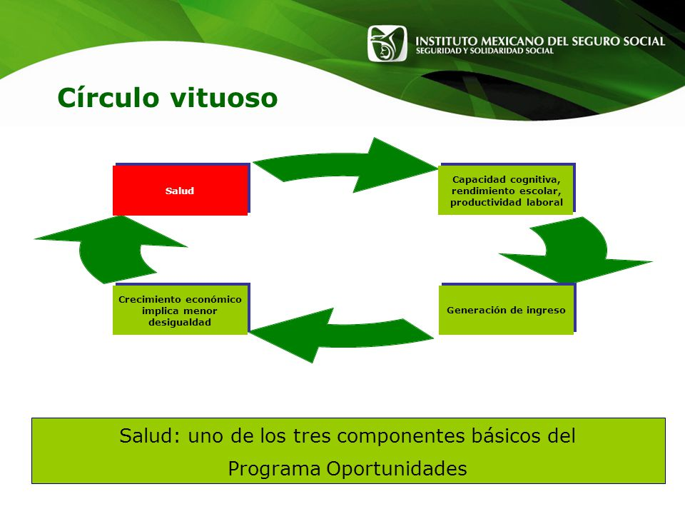 Círculo vituoso Salud: uno de los tres componentes básicos del