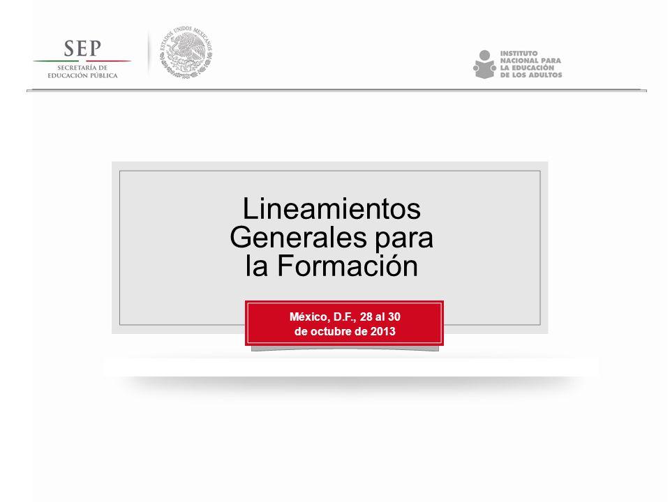 Lineamientos Generales para la Formación México, D.F., 28 al 30