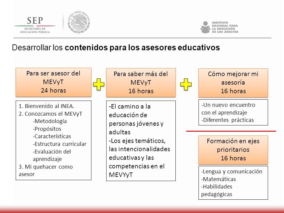 Desarrollar los contenidos para los asesores educativos