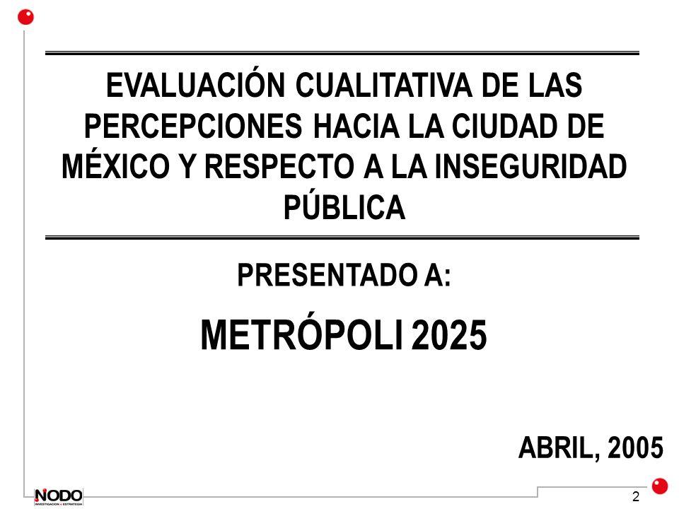 EVALUACIÓN CUALITATIVA DE LAS PERCEPCIONES HACIA LA CIUDAD DE MÉXICO Y RESPECTO A LA INSEGURIDAD PÚBLICA