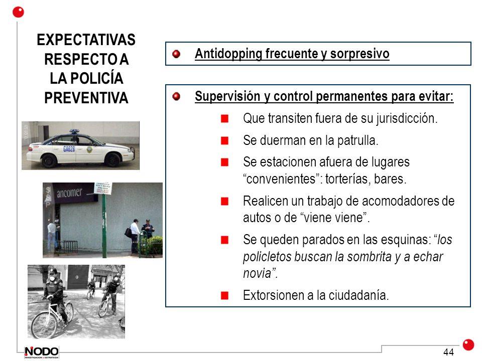 EXPECTATIVAS RESPECTO A LA POLICÍA PREVENTIVA