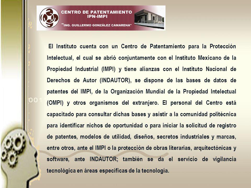 El Instituto cuenta con un Centro de Patentamiento para la Protección Intelectual, el cual se abrió conjuntamente con el Instituto Mexicano de la Propiedad Industrial (IMPI) y tiene alianzas con el Instituto Nacional de Derechos de Autor (INDAUTOR), se dispone de las bases de datos de patentes del IMPI, de la Organización Mundial de la Propiedad Intelectual (OMPI) y otros organismos del extranjero.