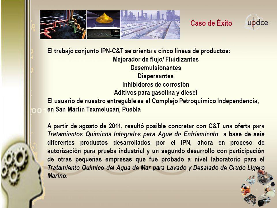 Caso de Éxito El trabajo conjunto IPN-C&T se orienta a cinco líneas de productos: Mejorador de flujo/ Fluidizantes.