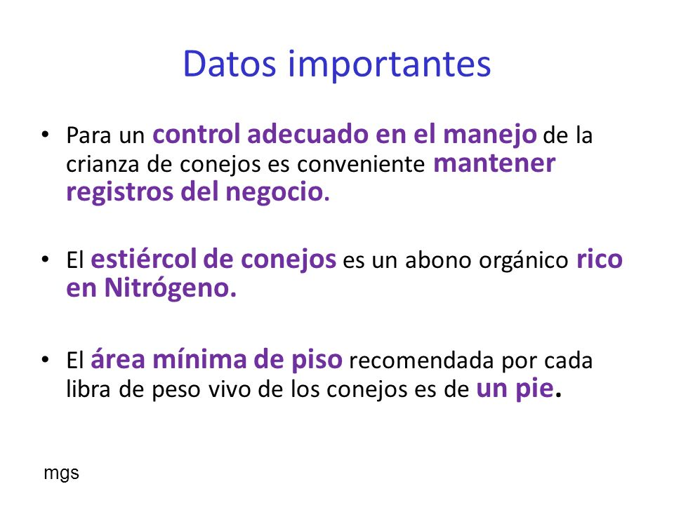 Datos importantesPara un control adecuado en el manejo de la crianza de conejos es conveniente mantener registros del negocio.