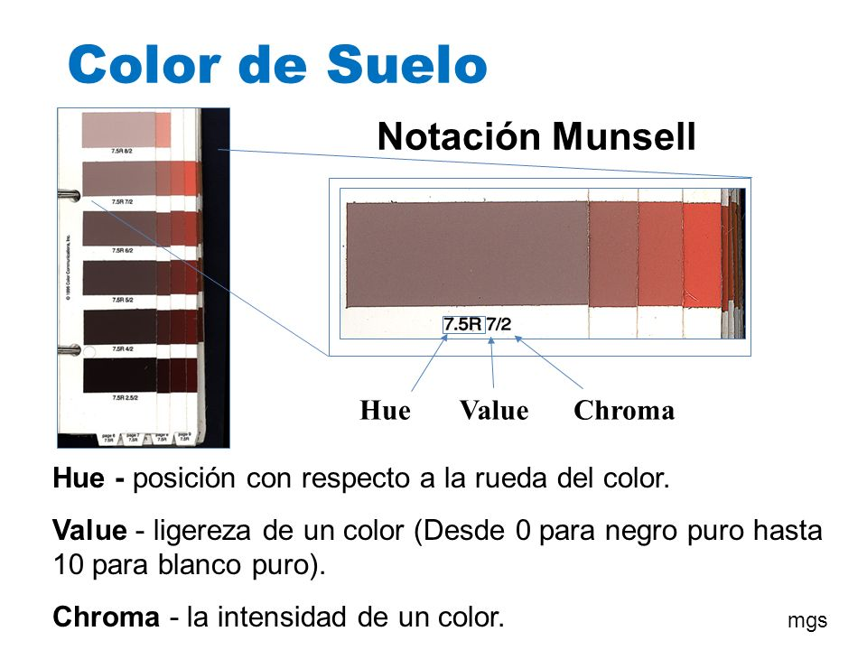 Color de Suelo Notación Munsell Hue Value Chroma