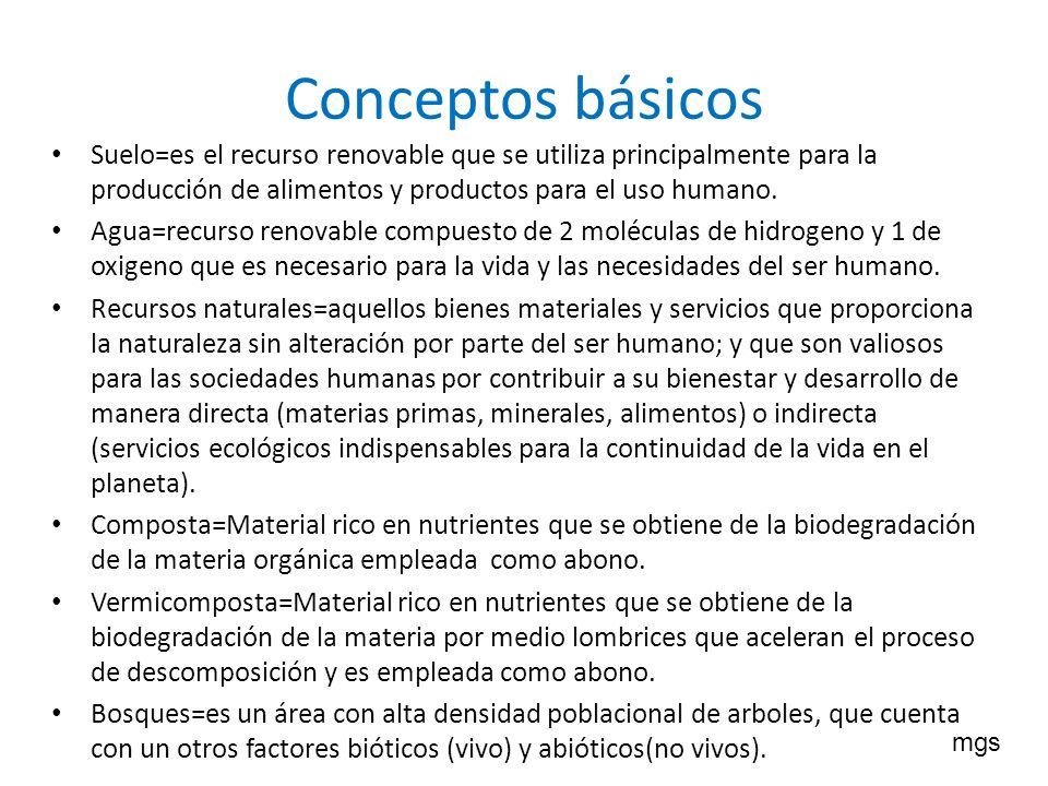 Conceptos básicos Suelo=es el recurso renovable que se utiliza principalmente para la producción de alimentos y productos para el uso humano.