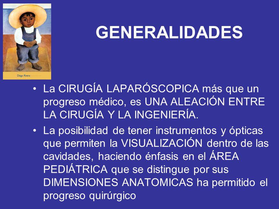 GENERALIDADES La CIRUGÍA LAPARÓSCOPICA más que un progreso médico, es UNA ALEACIÓN ENTRE LA CIRUGÍA Y LA INGENIERÍA.